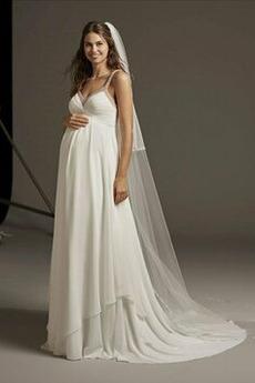 Robe de mariée Larges Bretelles Col en V Foncé Chiffon Luxueux Traîne Courte
