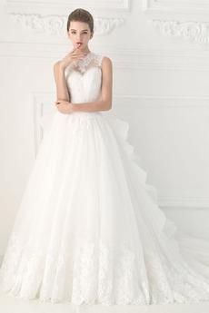 Robe de mariée Traîne Moyenne Norme Tissu Dentelle Fourreau pli