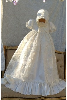 Robe de baptême Manche Courte Formelle Naturel taille Longue Princesse