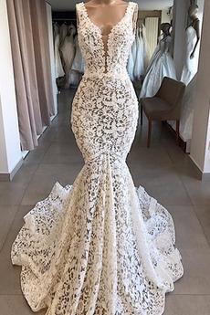 Robe de mariée Dentelle Zip Eglise Col en V Foncé Traîne Courte Col Bateau