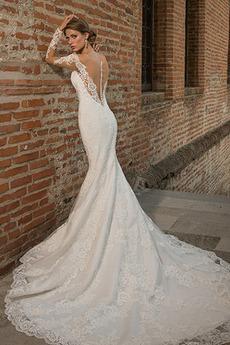 Robe de mariée Sirène Plage Tissu Dentelle Traîne Mi-longue Haute Couvert