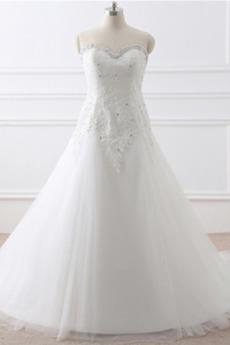 Robe de mariée Tulle Formelle Fourreau Avec Bijoux Longue Naturel taille