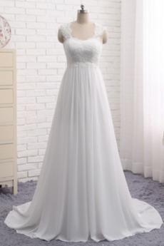 Robe de mariée Simple Empire De plein air Traîne Mi-longue Tissu Dentelle
