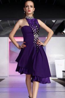 Robe de Bal Fourreau Avec Bijoux semi-halter Violette africaine