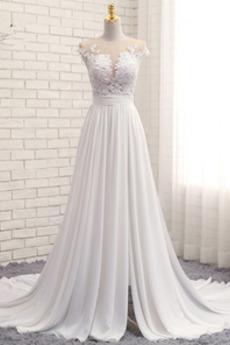 Robe de mariée Train de balayage Norme Sans Manches Naturel taille