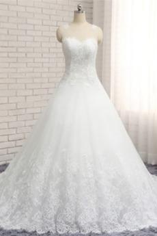 Robe de mariée A-ligne Manquant Plage Col Bateau Formelle Couvert de Dentelle
