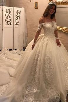 Robe de mariée Dentelle Naturel taille a ligne Longue Manche Aérienne