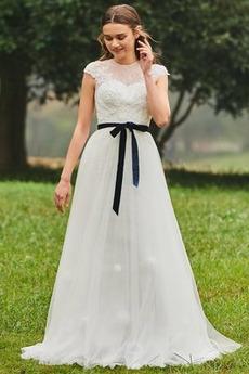 Robe de mariée Dos nu Au Drapée Col ras du Cou Orné de Nœud à Boucle
