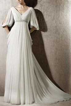 Robe de mariée Corsage plissé Train de petit Col en V Vintage
