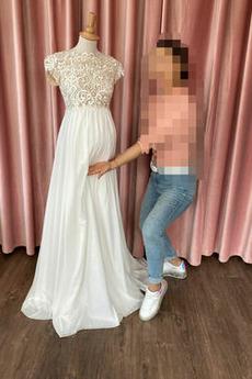 Robe de mariée Manche Courte Col de chemise t De plein air Chiffon
