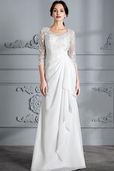 Robe de mariée 3/4 Manche Luxueux Longue Manche de T-shirt A-ligne