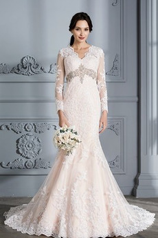 Robe de mariée Sirène Traîne Courte Haut Bas Manche Aérienne Naturel taille