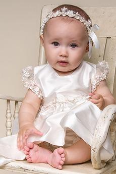 Robe de baptême Manche Courte Princesse Automne Orné de Nœud à Boucle