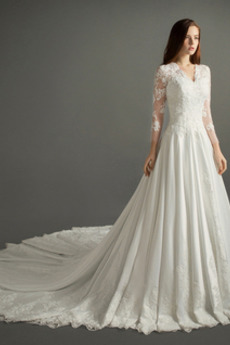 Robe de mariée Dos nu Col en V Longue Hiver Naturel taille Manquant