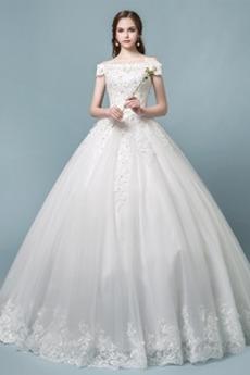Robe de mariée Perlé Manche Courte Couvert de Dentelle Lacez vers le haut