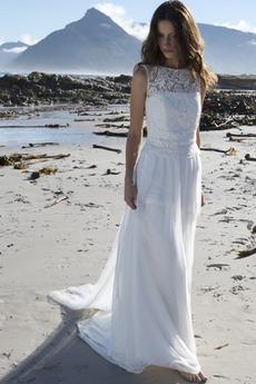 Robe de mariée Mousseline de soie Naturel taille a ligne Longue