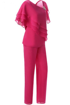 Robe Mère de Mariée Haute Couvert Longueur Cheville Manche Courte