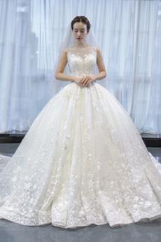 Robe de mariée Traîne Moyenne Sans Manches Manquant Elégant Tulle