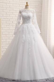 Robe de mariée Froid A-ligne Appliques Salle Manche Longue Haute Couvert