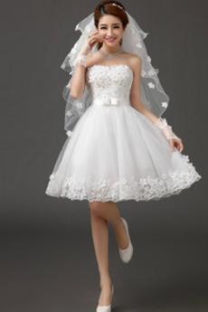 Robe de mariée Sans Ceinture A-ligne Perler Rivage Sans Manches