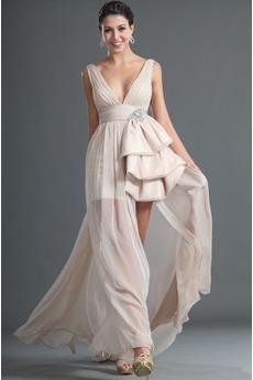 Robe de Bal 2014 Été Col en V Mousseline de soie taille haut Sans Manches