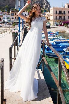 Robe de mariée Empire Lacet Chiffon Sommaire Naturel taille Col Bateau