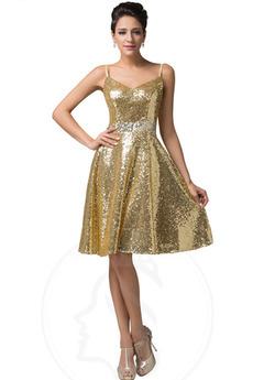 Robe de Soirée Glamour Mi-longues Manquant A-ligne Corsage Pailleté