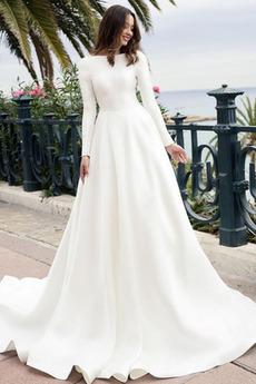 Robe de mariée Manche Longue Naturel taille noble Plage Traîne Moyenne