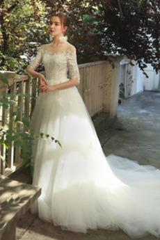 Robe de mariée Appliques Naturel taille Traîne Courte A-ligne De plein air