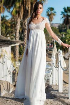 Robe de mariée Dos nu Appliques Longueur ras du Sol De plein air Manche Aérienne