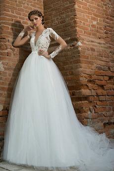 Robe de mariée Tulle Col en V Haute Couvert Appliques Longue Naturel taille