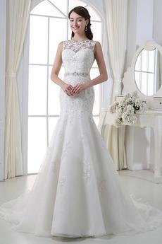 Robe de mariée Fourreau Eglise Printemps Luxueux Sans Manches