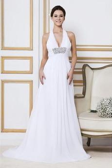 Robe de mariée Longue Col en V Elégant Automne Sans Manches Zip