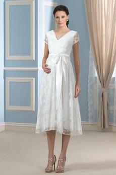 Robe de mariée Grandes Tailles Orné de Nœud à Boucle Fermeture éclair