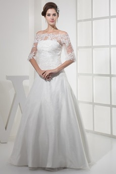 Robe de mariée A-ligne Longueur ras du Sol Manche Aérienne Médium
