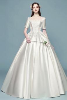 Robe de mariée Hiver Soie Appliques aligne Manche de T-shirt Col Carré