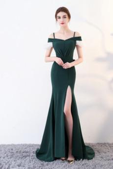 Robe de Bal Traîne Courte Manche Courte Fourreau plissé Luxueux