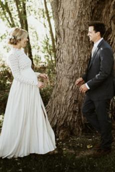 Robe de mariée Grossesse Couvert de Dentelle Naturel taille Haute Couvert