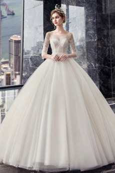 Robe de mariée Naturel taille Lacet De plein air Elégant Col U Profond