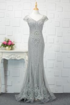 Robe de Soirée Sirène Manche Courte Glamour Norme Fourreau Avec Bijoux