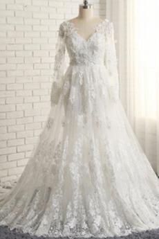 Robe de mariée A-ligne Médium Col Bateau Chaussez Longueur Cheville