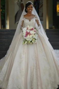 Robe de mariée Manche Aérienne Formelle Appliques Satin Manche Longue