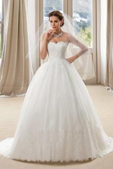 Robe de mariée Dos nu Formelle Longue Tissu Dentelle Sans Manches