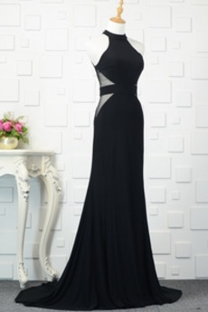 Robe de Soirée Dos nu Col ras du Cou Sexy Sans Manches Fourreau