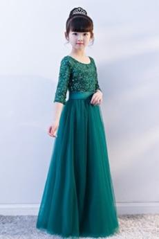 Robe Cortège Fille Cristal Été Col ras du Cou Mode À la masse
