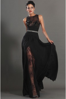 Robe de Bal Thigh-High Slit Glamour Chiffon Sans Manches Ouverture Frontale