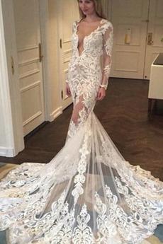 Robe de mariée Dos nu Tissu Dentelle Froid De plein air Formelle Naturel taille