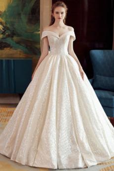 Robe de mariée Pailleté Naturel taille Épaule Dégagée Salle Lacet