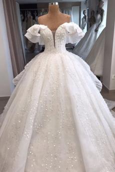 Robe de mariée A-ligne Zip Au Drapée Automne Eglise Formelle