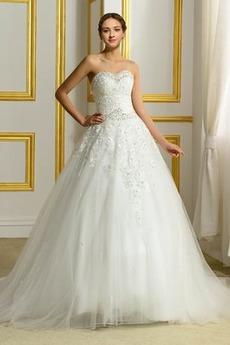 Robe de mariée Sans Manches Traîne Mi-longue Naturel taille Perle